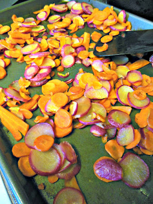 Wordless Wednesday. Recipe for Roasted Carrot and Radish Salad with Citrus Vinaigrette and Feta.
