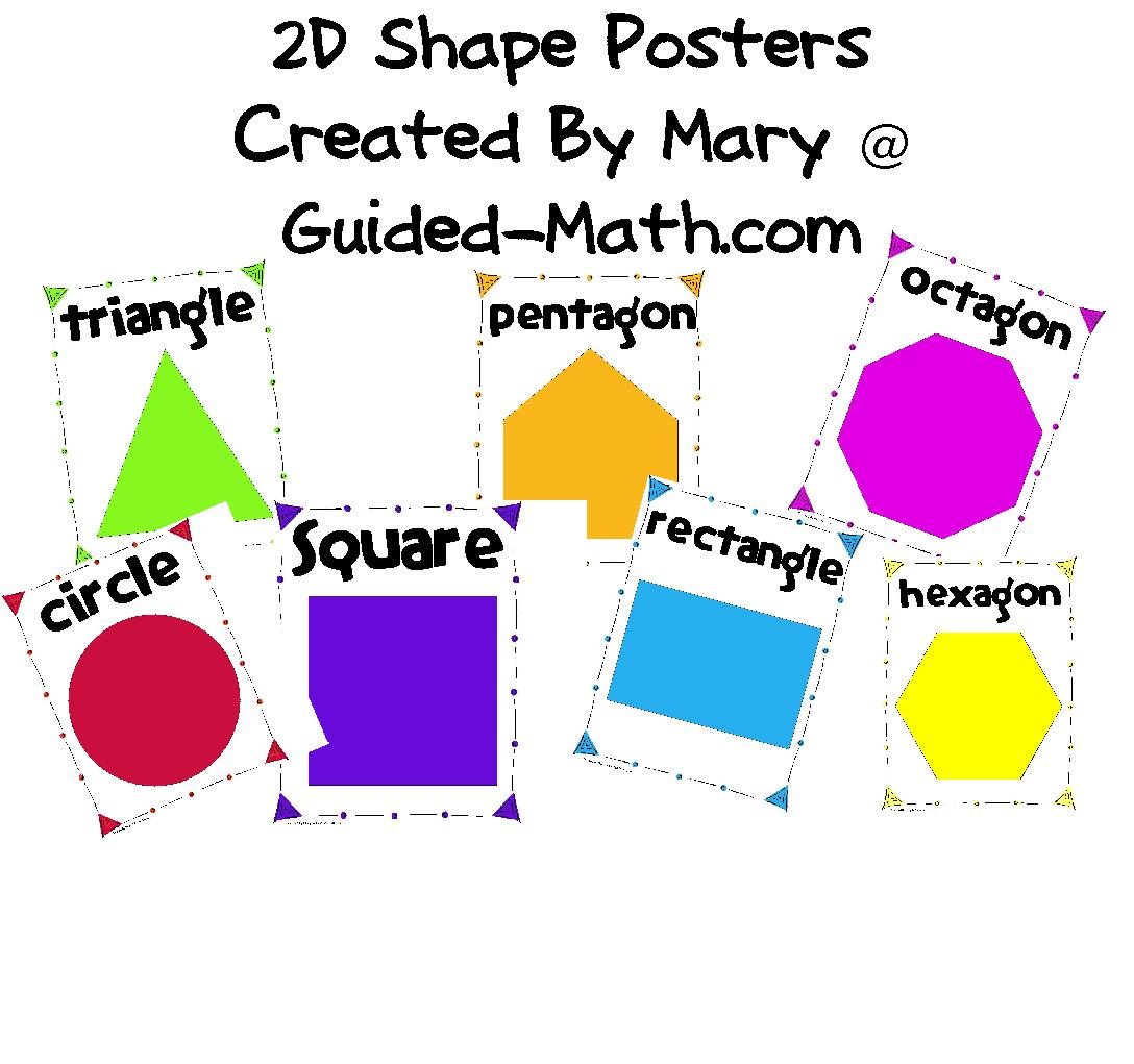 2d Geometric Shapes Chart Guided Math 2d Shape Posters