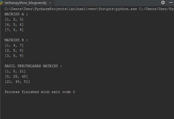 Hasil Program Python Perhitungan Matriks
