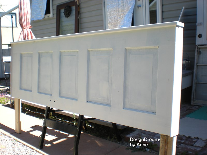I Primed And Painted The Door And Drilled Holes In The Legs So I Could  Attach The Headboard Directly To My Bedframe.