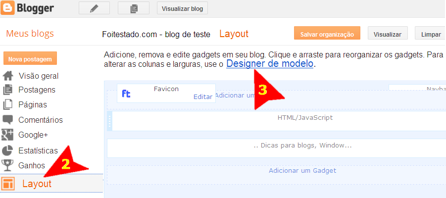 design de modelo no blogger