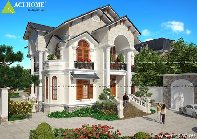 Kiến trúc Pháp biệt thự đẹp 2 tầng tân cổ điển