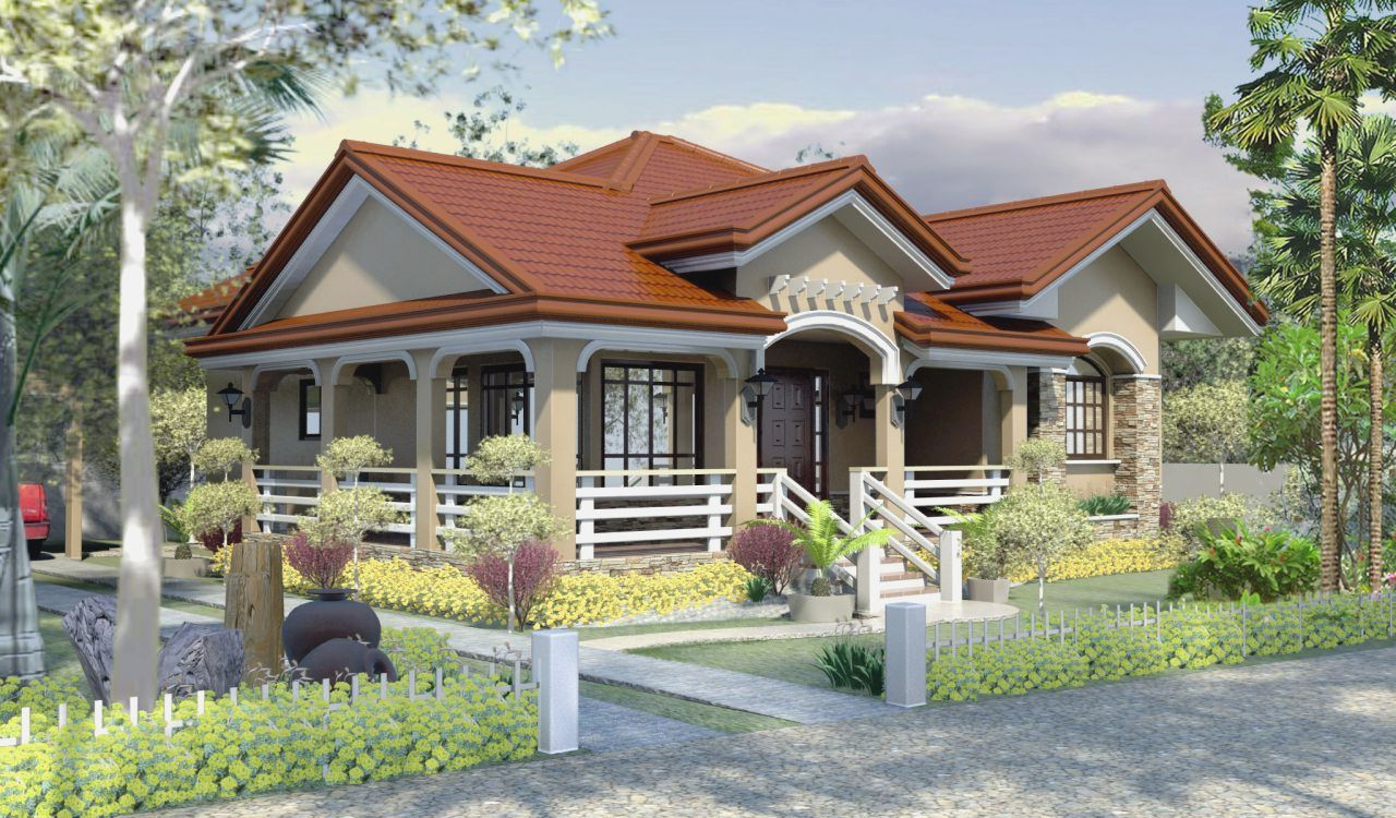 12 house with red colored theme roofing bahay ofw for Home blueprint ideas
