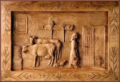 El establo (versión antigua). Talla en madera