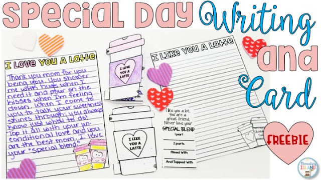 "These FREE Valentine's Day writing activity is a perfect activity for someone special!  Use the the template and themed writing paper to describe whey you ""Love/Like You A Latte!""  Teachers can use these worksheets in literacy centers or as a whole group lesson.  This freebie is easily adaptable for first grade and 2nd grade through fifth grade!  Is Valentine's Day over? Complete this activity for a very special Mother's Day! #elementaryisland #valentinesdaywriting #mothersdaywriting"