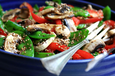 Snow pea and red pepper salad adds crunch and colour to your buffet table