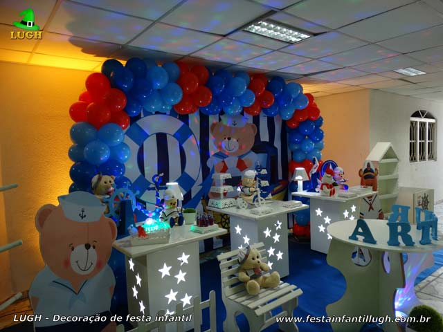Decoração de aniversário tema Ursinho Marinheiro - Festa infantil