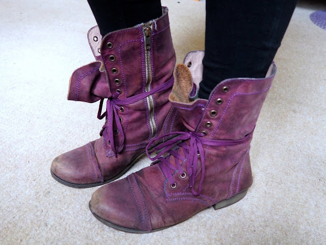 Dr Facilier Disneybound outfit shoe details of chunky purple laced combat boots