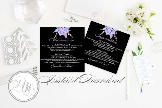 Lilac Purple & Mint Succulent Wedding Invitation Reply Card Package