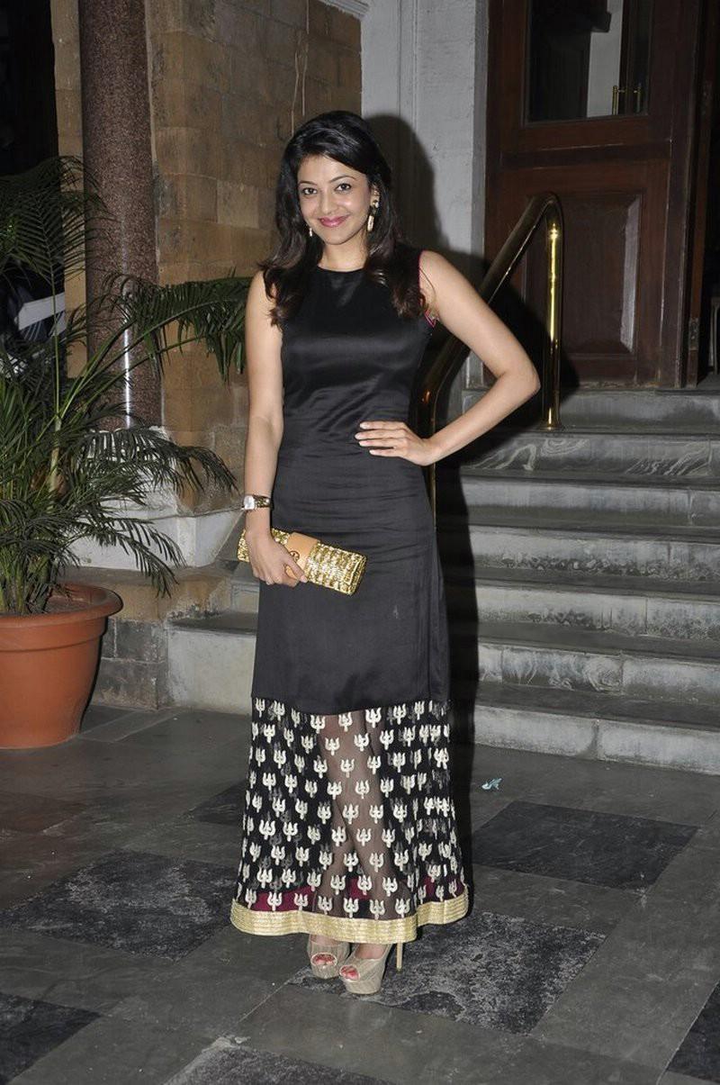 Kajal Agarwal Photoshoot Sleeveless Underarm Stills In Black Dress