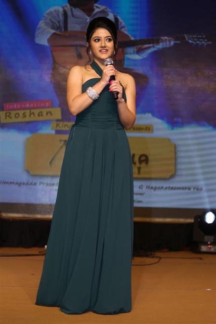 Shriya Sharma in Green Halter Neck Maxi Gown at Nirmala Convent Audio Launch