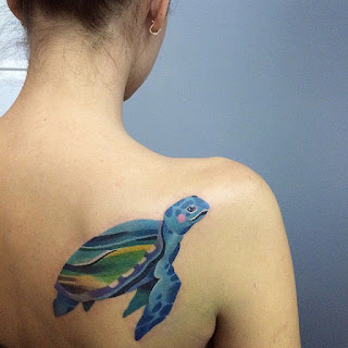 Small Turtle Tattoo On Women Back Shoulder
