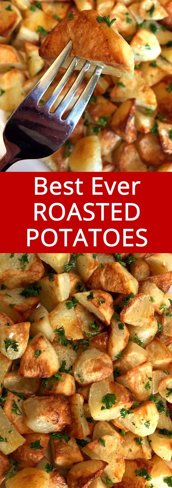 These oven roasted potatoes are amazing! Perfectly golden brown and crispy on the outside, tender on the inside – this is the best roasted potatoes recipe ever!