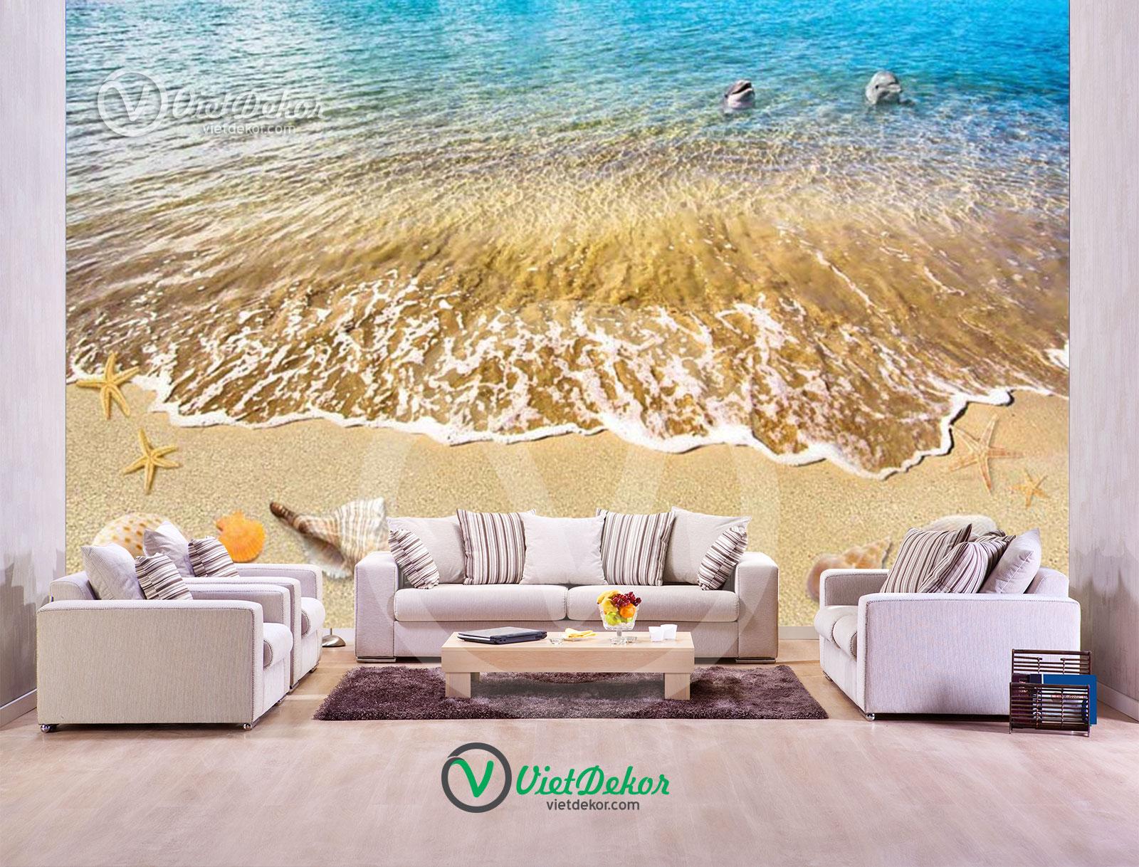 Tranh 3d dán tường phong cảnh biển cá mập sao biển và ốc