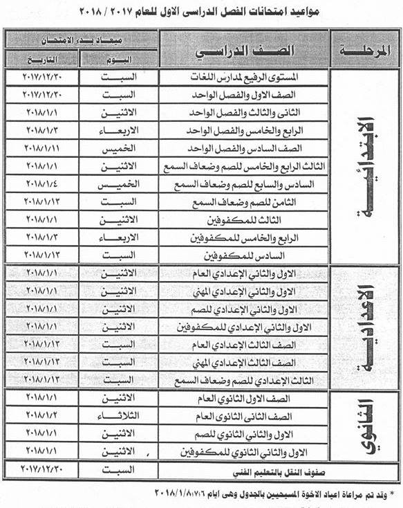 تنزيل جداول امتحانات محافظة دمياط الترم الاول,2018 جميع المراحل Damietta