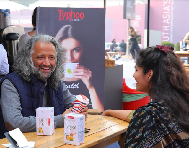 Samar singh Jodha with a friend relishing typhoo new variant lemon and honey green tea