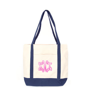 White Background of Monogrammed Boat Tote in Navy