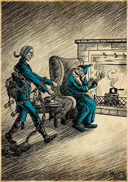 Ο Σκρουτζ και το φάντασμα του Jacob Marley σε εικονογράφηση από το Φονικό Κουνέλι / Foniko Kouneli illustration for a Christmas Carol