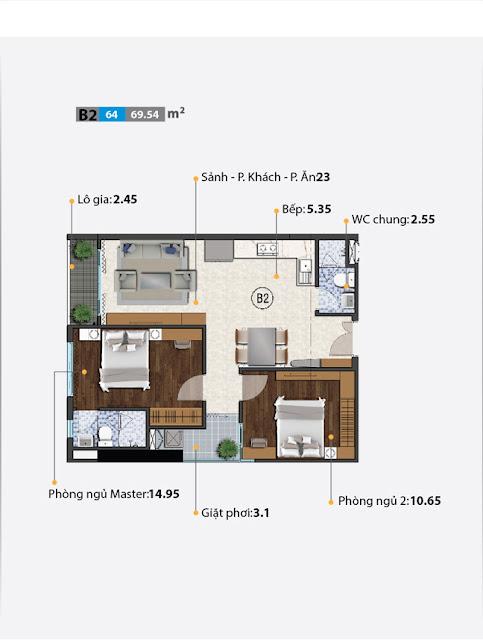 Căn hộ 2 phòng ngủ điểm hình trong dự án Carillon 5 quận Tân Phú.
