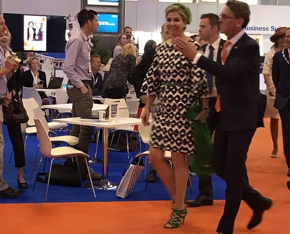 Queen Maxima attended the opening of the European Academy of Neurology congress. Queen wore Natan dress