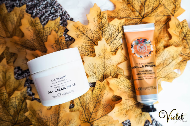 The Body Shop Vanilla Pumpkin hand cream & The Body Shop All Bright day cream