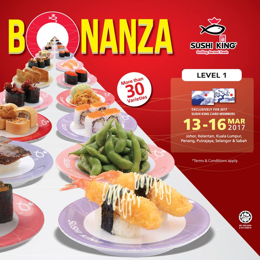 Sushi King Bonanza Card Members RM3 Plate Discount Offer Promo