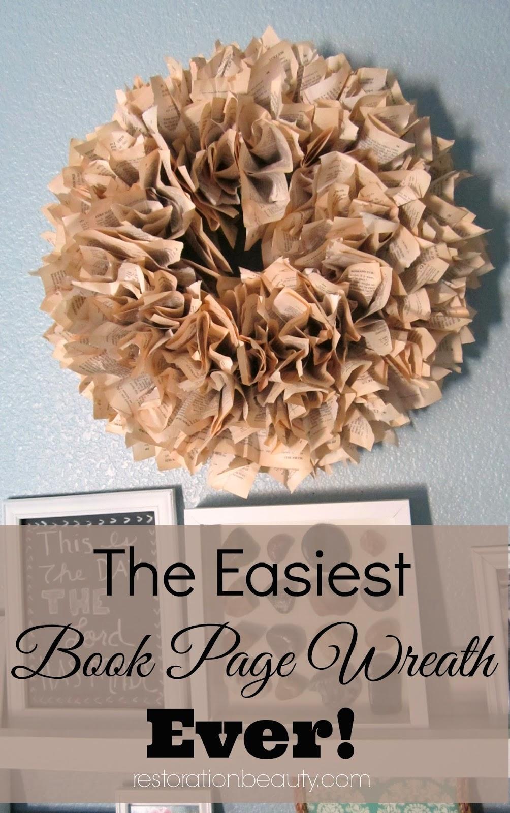 book page crafts, diy book page wreath