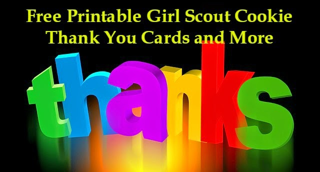 Free printable Girl Scout cookie thank you cards