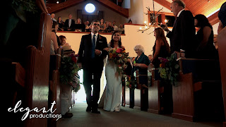 Father walking bride down the aisle, Beaver Creek Chapel