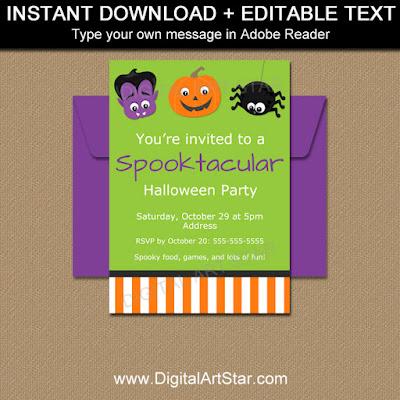 cute kids halloween invitaiton with vampire pumpkin spider