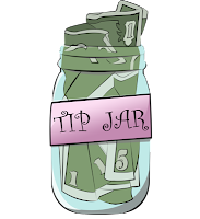 Illustration of a glass jar containing money in various denominations.