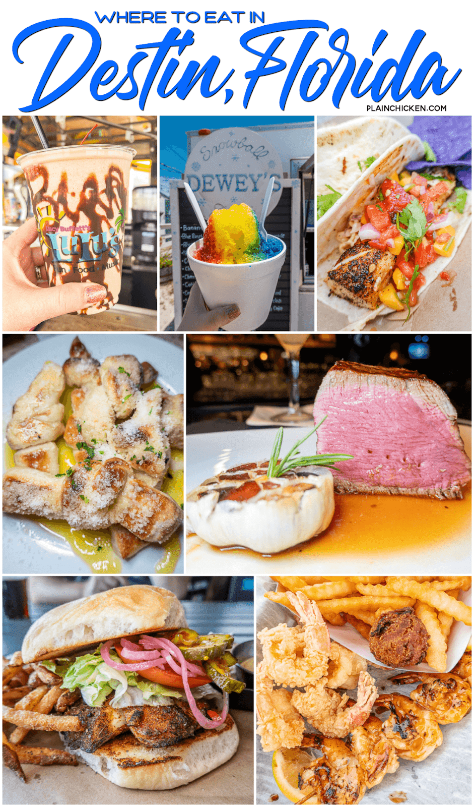 collage of photos of food from Destin, FL
