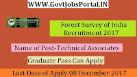 Forest Survey of India Recruitment 2017- Technical Associates