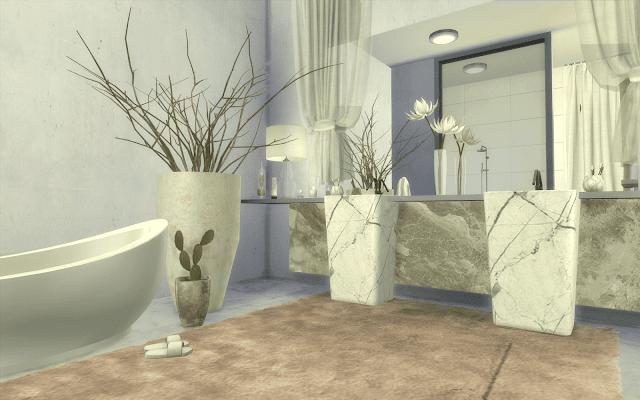 salle de bain luxe marbre blanc sims 4