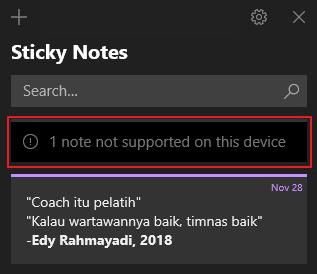 cara mengembalikan catatan di sticky note