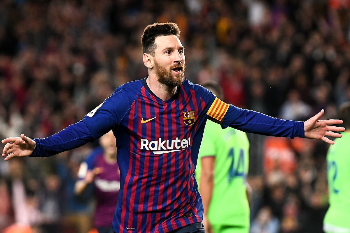 Lionel Messi of FC Barcelona celebrates his goal during the match between FC Barcelona vs Levante UD of La Liga, date 35, 2018-2019 season. Camp Nou Stadium.