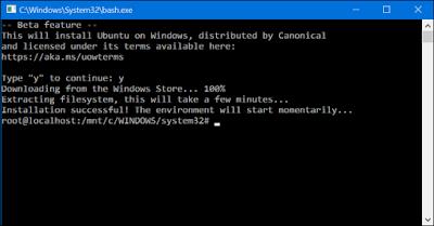 tart downloading Ubuntu-based Bash On Windows