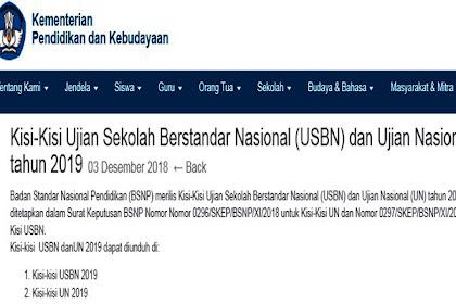 Kisi-Kisi Ujian Sekolah Berstandar Nasional (USBN) dan Ujian Nasional (UN) Tahun 2019 PDF (Kisi - Kisi USBN dan UN Tahun 2019 peserta didik kelas VI, IX dan XII)