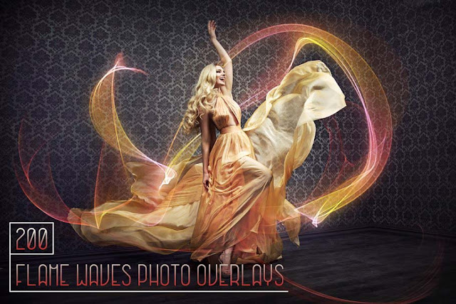 200 Flame Waves Photo Overlays
