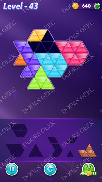 Block! Triangle Puzzle Advanced Level 43 Solution, Cheats, Walkthrough for Android, iPhone, iPad and iPod