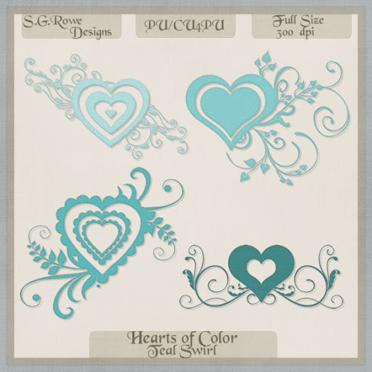 Hearts of Color Swirl Hearts - Teal Shades