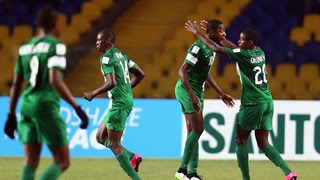 Nigeria U-17 celebrate goal against Mexico. Nigeria won the match 4-2