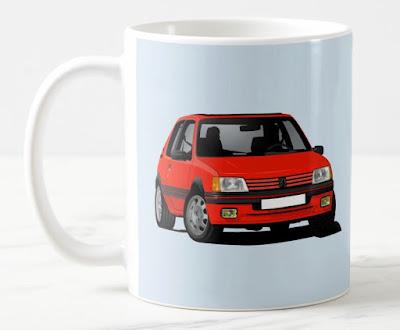 Peugeot 205 GTi kahvimuki automuki