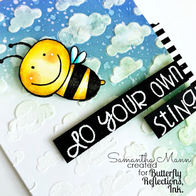 Do Your Own Sting Card by Samantha Mann for Butterfly Reflections Ink, Paper Smooches, Newton's Nook, Handmade Cards, Stencil, Bee, Cards, #papersmooches #distressink #inkblending #cards