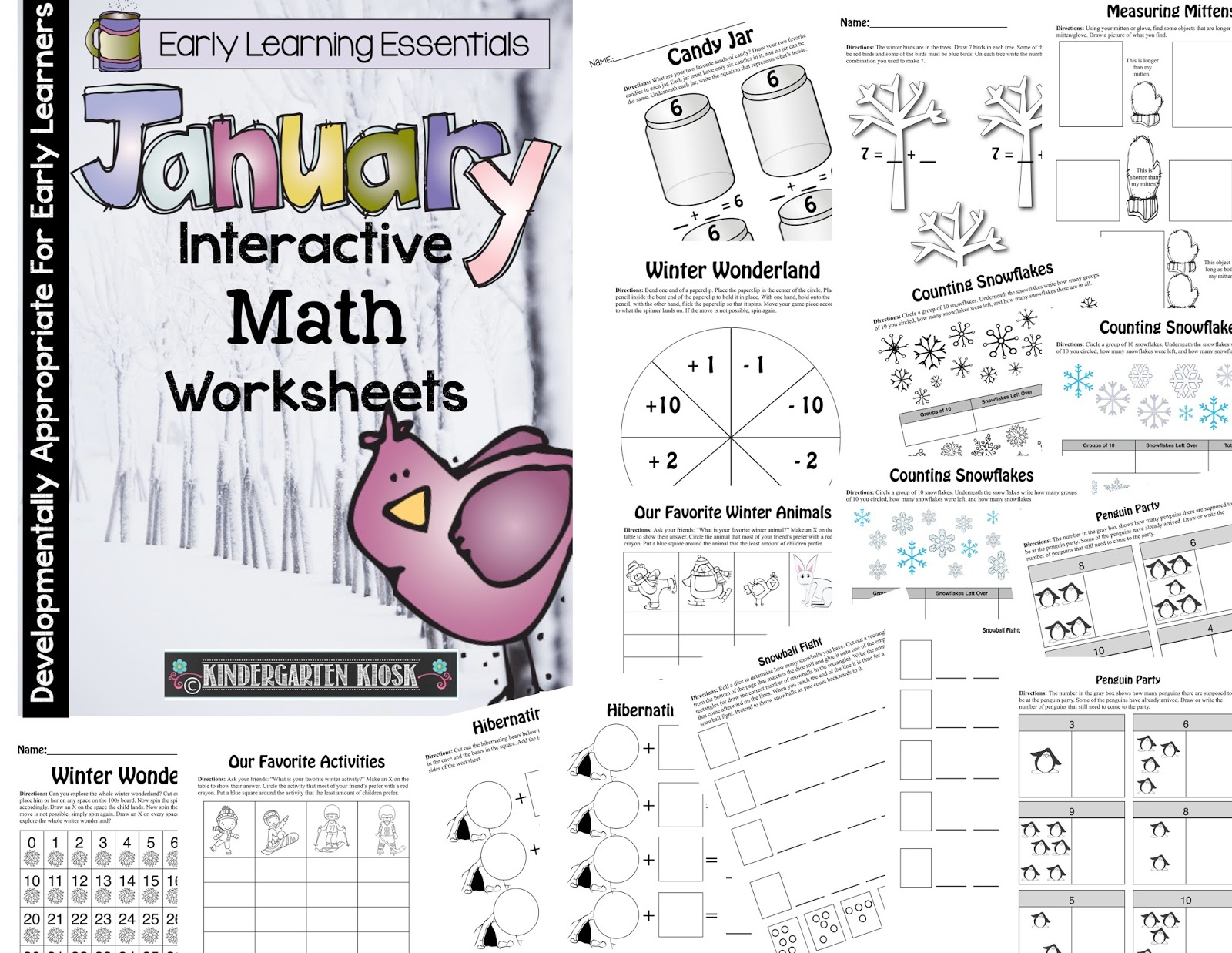 Kindergarten Kiosk January Interactive Math Worksheets