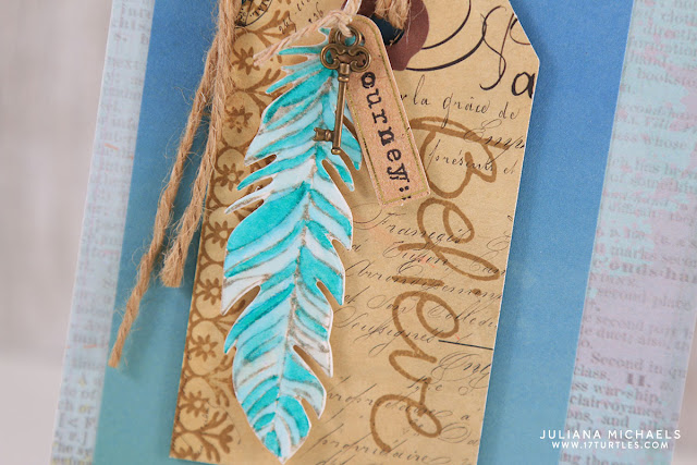 Watercolor Feather Believe Card by Juliana Michaels featuring Momenta Art C Stamps, Dies and Embellishments