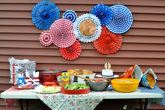 Abraham Lincoln Party, first birthday, patriotic, red, white, and blue