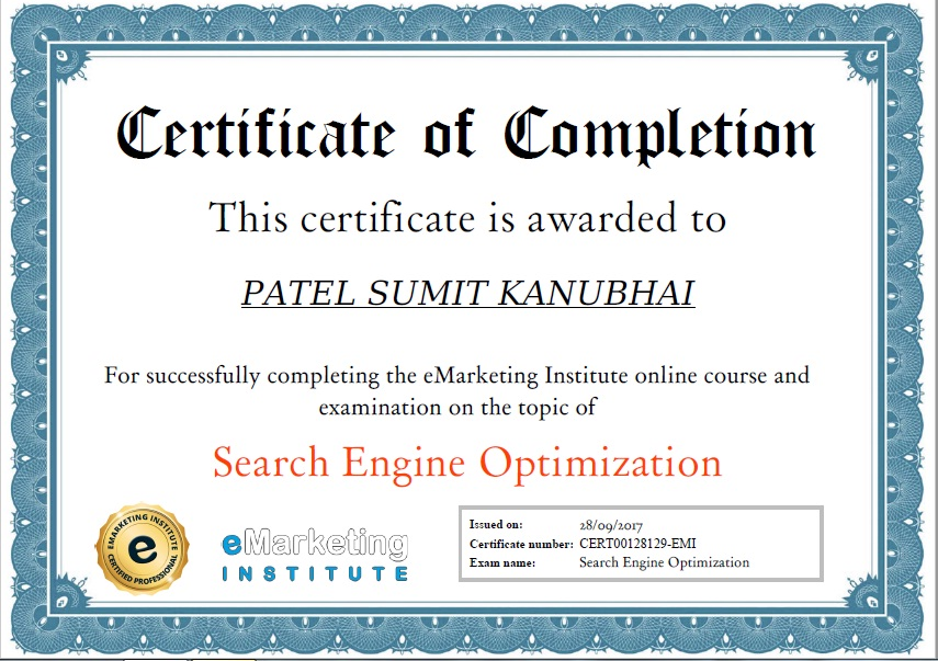 Seo Certification And Course Sumit Patel Website Developer
