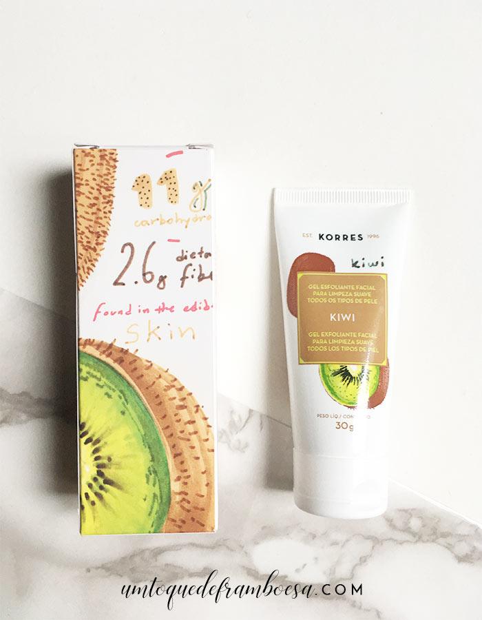O gel esfoliante facial para limpeza suave de Kiwi da KORRES, indicado para todos os tipos de pele e minha opinião sobre o produto