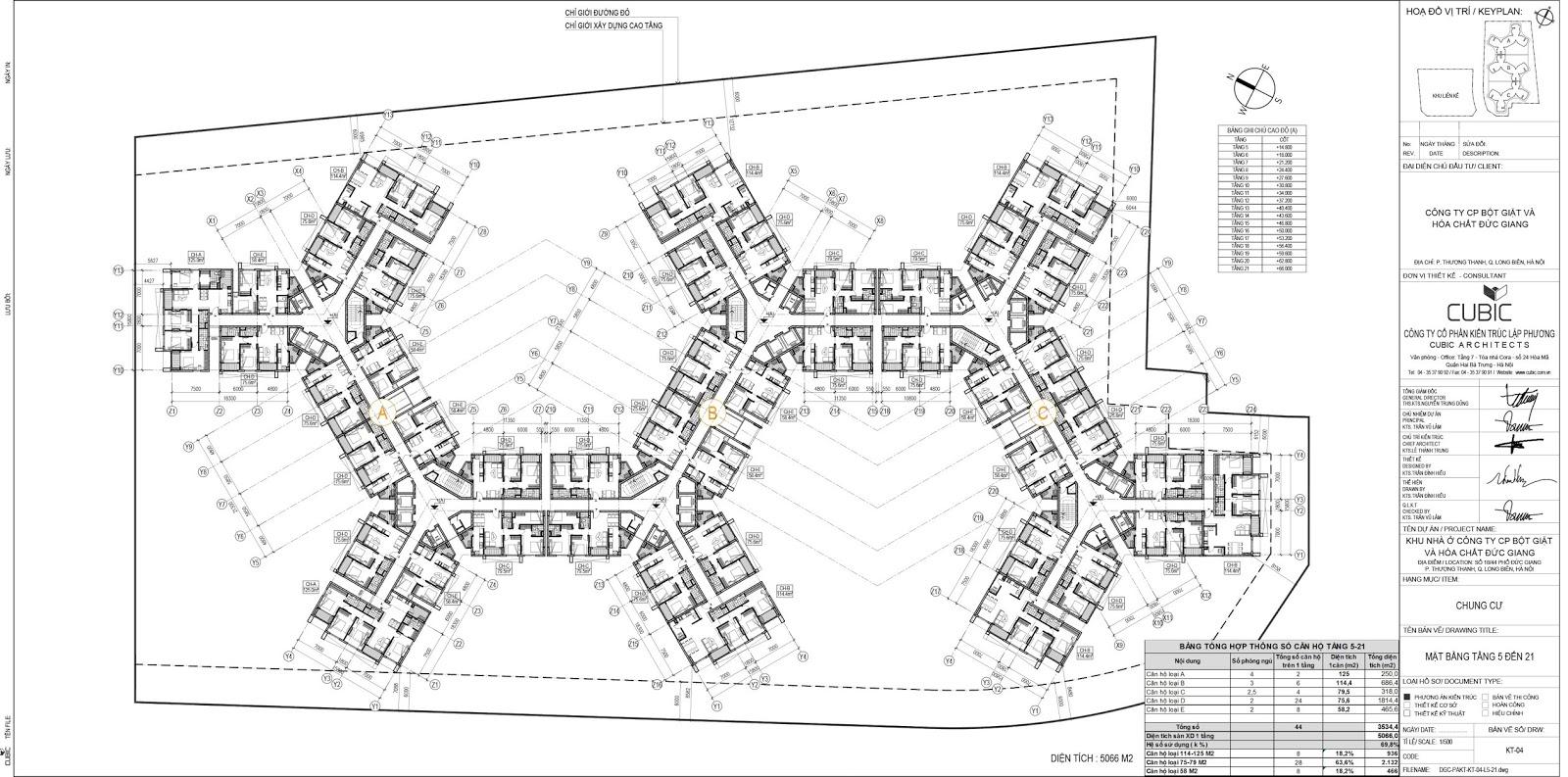 Mặt bằng căn hộ dự án chung cư Đức Giang.